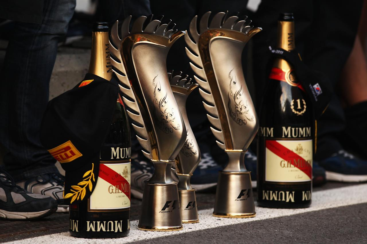 YEONGAM-GUN, SOUTH KOREA - OCTOBER 16:  The winning drivers and constructors trophies are seen following the Korean Formula One Grand Prix at the Korea International Circuit on October 16, 2011 in Yeongam-gun, South Korea.  (Photo by Clive Rose/Getty Images)