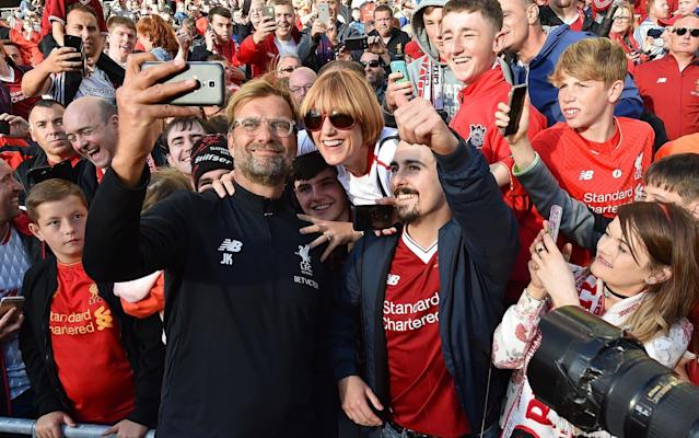 "Jurgen Klopp has been the apple of <a class=""link rapid-noclick-resp"" href=""/soccer/teams/liverpool/"" data-ylk=""slk:Liverpool"">Liverpool</a> fans' eyes so far at Anfield, leading the Reds back into the Champions League with his intense pressing style. (The Telegraph)"