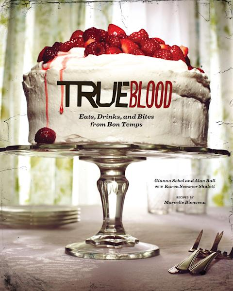 """This book cover image released by Chronicle Books shows """"True Blood: East, Drinks, and Bites from Bon Temps,"""" a cookbook with recipes by Marcelle Bienvenu. (AP Photo/Chronicle Books)"""
