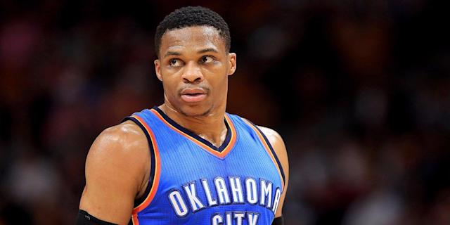 "<a class=""link rapid-noclick-resp"" href=""/nba/players/4390/"" data-ylk=""slk:Russell Westbrook"">Russell Westbrook</a> signed a 5-year extension that gives him a $233 million contract — the biggest in NBA history."