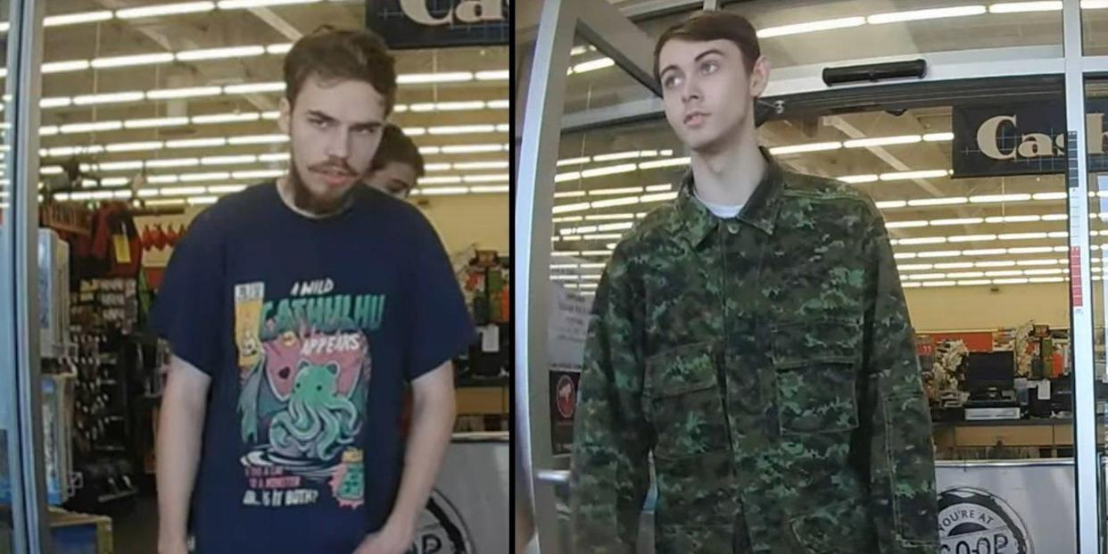 A composite image showing Kam McLeod (left) and Bryer Schmegelsky (right) leaving a hardware store in Meadow Lake, c, on July 21