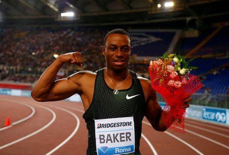 Ronnie Baker of the U.S celebratess winning the Men's 100m at the IAAF Diamond League, Golden Gala at Stadio Olimpico in Rome, Italy, May 31, 2018. REUTERS/Tony Gentile