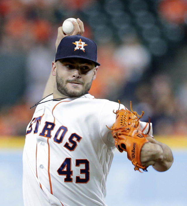 Houston Astros starting pitcher Lance McCullers Jr. (43) throws against Cleveland Indians during the first inning of a baseball game Sunday, May 20, 2018, in Houston. (AP Photo/Michael Wyke)