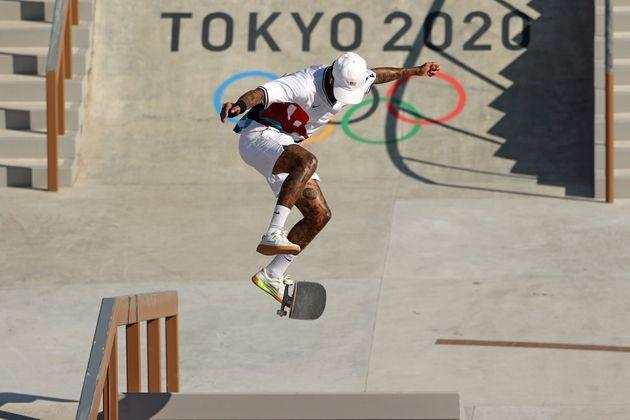 Nyjah Huston of Team USA practises prior the Skateboarding Men's Street Prelims on day two of the Tokyo 2020 Olympic Games. (Photo: Ezra Shaw via Getty Images)