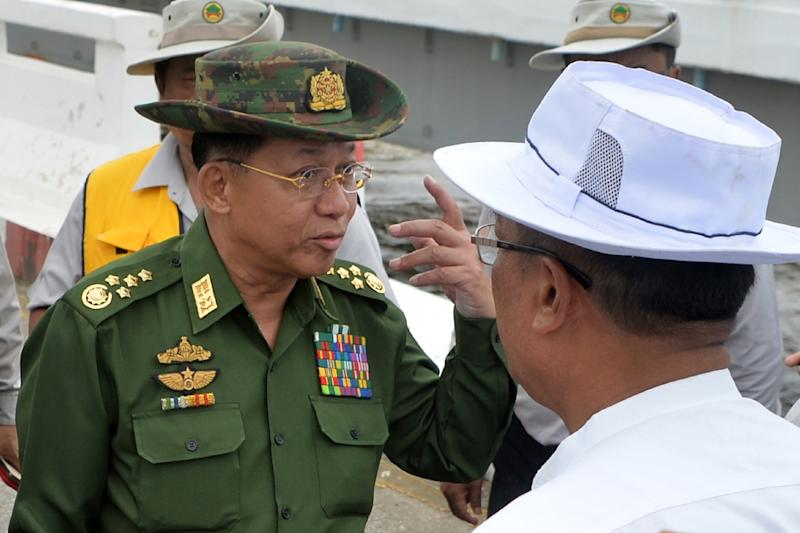 Myanmar military chief Senior General Min Aung Hlaing, seen here inspecting a bridge in August 2018, is facing calls from US senators to face punishment over the campaign against the Rohingya minority