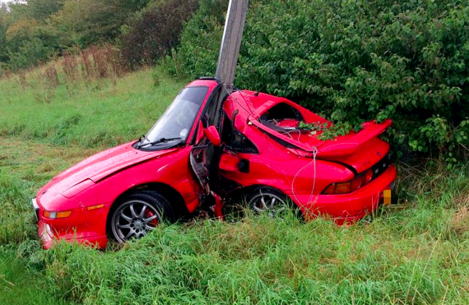 <em>The car ploughed straight into a lamp post (SWNS)</em>