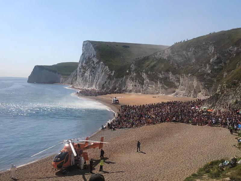 One of the air ambulances that landed on the beach after the people jumping were injured: PA