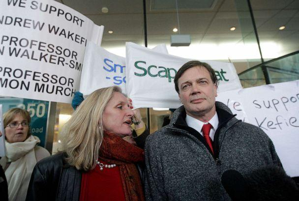 PHOTO: British Doctor Andrew Wakefield (R) and his wife, Carmel arrive at the General Medical Council (GMC) in central London, on January 28, 2010. (Shaun Curry/AFP via Getty Images)
