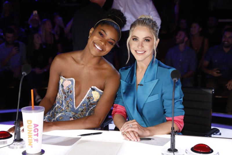"AMERICA'S GOT TALENT -- ""Live Results 2"" Episode 1415 -- Pictured: (l-r) Gabrielle Union, Julianne Hough -- (Photo by: Trae Patton/NBCU Photo Bank/NBCUniversal via Getty Images via Getty Images)"