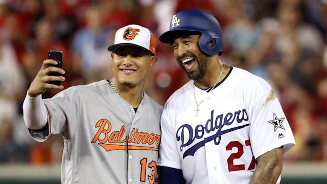 Manny Machado snapped a selfie with possibly soon-to-be teammate Matt Kemp during the MLB All-Star game at Nationals Park. (Getty Images)