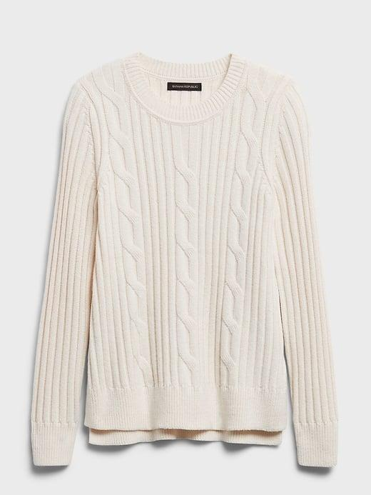 <p>A cream cable knit is a classic, why not make your option sustainable like this <span>Banana Republic Chunky Cable-Knit Sweater</span> ($26, originally $90). At a great price, it's made with a blend of new and recycled polyester, sourced from 16 post-consumer plastic bottles.</p>