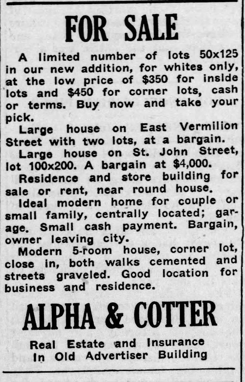 """An advertisement for """"whites only"""" homes in Lafayette that ran in the Daily Advertiser in the summer of 1923 prior to the city's racist zoning ordinance that divided the city into white- and Black-only areas."""