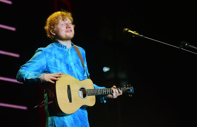 "<p>""Shape of You"" will bring Sheeran his fourth nom in this category in just six years. He was previously nominated for co-writing ""The A Team,"" ""Thinking Out Loud"" (which won), and ""Love Yourself."" Sheeran co-wrote the song with Steve Mac and Johnny McDaid.<br>(Photo: STR/AFP/Getty Images) </p>"