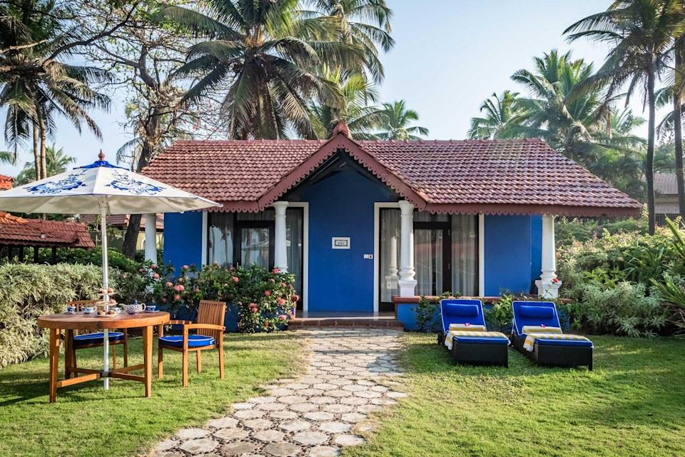 A blue villa at the Taj Holiday Village Resort, voted one of the best hotels in the world