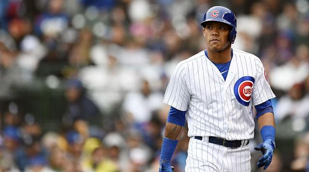 "The <a class=""link rapid-noclick-resp"" href=""/mlb/teams/chc"" data-ylk=""slk:Chicago Cubs"">Chicago Cubs</a> tendered shortstop Addison Russell a contract for 2019 despite Russell being suspended for domestic violence. (AP)"