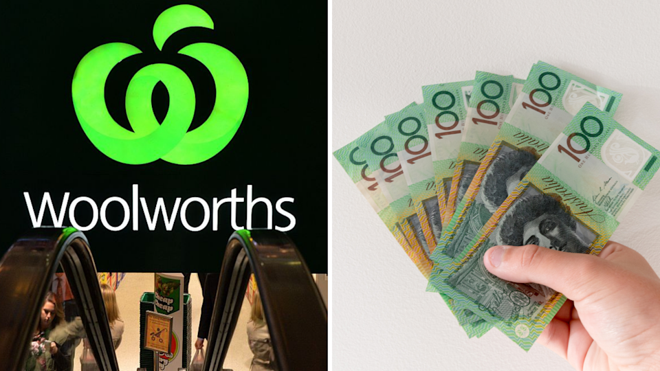 Image of Woolworths logo and cash