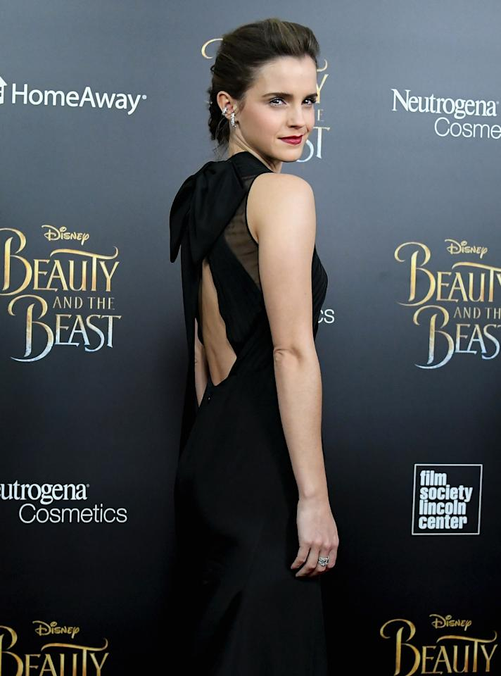 Beauty and the Beast star Emma Watson is camera-ready on Monday at a New York City screening of the film.