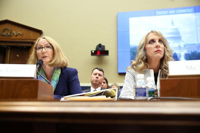USOC acting chief Susanne Lyons and USA Gymnastics CEO Kerry Perry testify at a House Energy and Commerce Committee hearing on Olympic athletes and sexual abuse on Capitol Hill in Washington, U.S., May 23, 2018. REUTERS/Jonathan Ernst