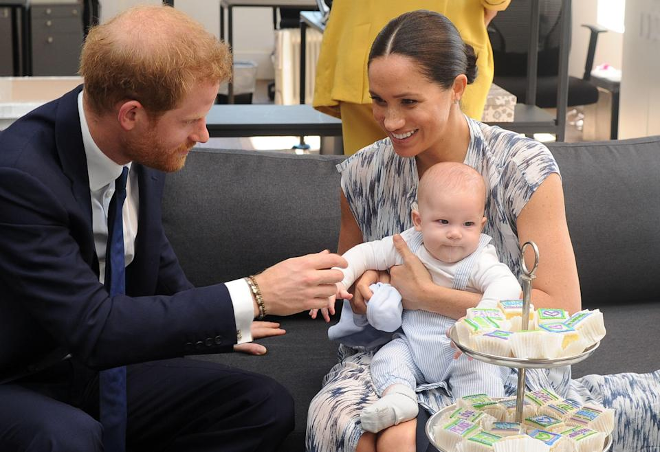 Prince Harry with Meghan Markle and their son, Archie, on a trip to South Africa in 2019.