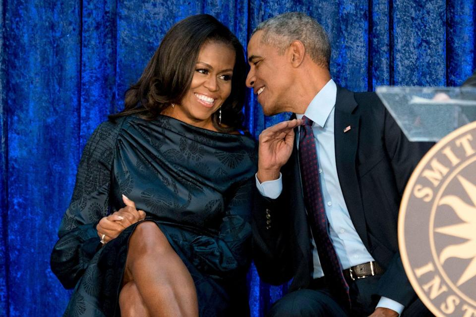 """<p>Barack told <em><a href=""""https://www.marieclaire.com/politics/news/a1968/barack-obama-interview-women/"""" rel=""""nofollow noopener"""" target=""""_blank"""" data-ylk=""""slk:Marie Claire"""" class=""""link rapid-noclick-resp"""">Marie Claire</a> </em>in 2008 about his wife's best qualities. </p> <p>""""Anybody who knows her well knows she's got the best sense of humor of anyone you'd ever want to meet,"""" he said of Michelle. """"She's the most quintessentially American person I know ... She's just a wonderfully normal, levelheaded person. Any American woman who meets her would immediately identify her as a fellow traveler.""""</p>"""