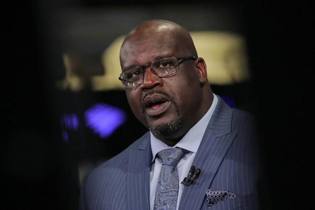 Former basketball star Shaquille O'Neal, speaks during an interview on CNBC about joining the board of Papa John's International Inc., on the floor of the New York Stock Exchange in New York