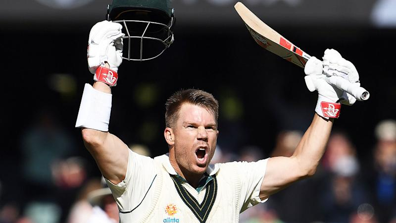 Pictured here, David Warner celebrates his historic triple century in Adelaide.
