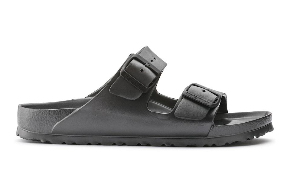 """<p>Birks are the undisputed kings of <a href=""""https://www.gq.com/story/fall-is-the-best-time-to-wear-birkenstocks?mbid=synd_yahoo_rss"""" rel=""""nofollow noopener"""" target=""""_blank"""" data-ylk=""""slk:transitional weather footwear"""" class=""""link rapid-noclick-resp"""">transitional weather footwear</a>. These plastic ones, also known affectionately as """"Birkencrocs,"""" are as comfy as the leather Birks you grew up with, but much easier to clean after a park hang.</p> <p><em>Birkenstock Arizona EVA Sandals</em></p> $45, Birkenstock. <a href=""""https://www.birkenstock.com/us/arizona-eva/arizona-eva-eva-0-eva-u_6774.html"""" rel=""""nofollow noopener"""" target=""""_blank"""" data-ylk=""""slk:Get it now!"""" class=""""link rapid-noclick-resp"""">Get it now!</a>"""