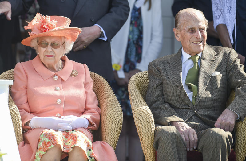 EGHAM, ENGLAND - JUNE 24: Queen Elizabeth II and Prince Philip, Duke of Edinburgh attend The OUT-SOURCING Inc Royal Windsor Cup 2018 polo match at Guards Polo Club on June 24, 2018 in Egham, England. (Photo by Antony Jones/Getty Images)