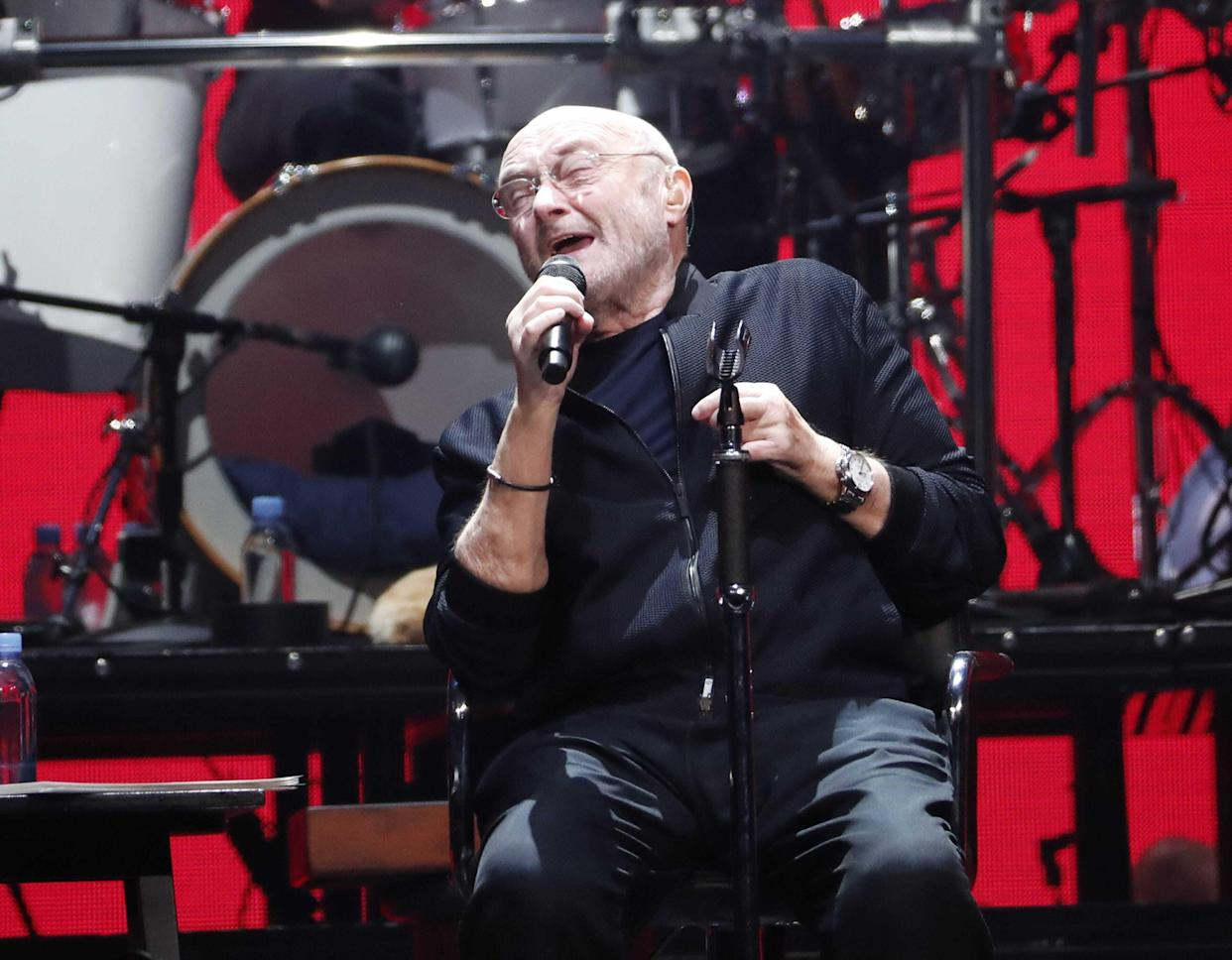 Phil Collins performs during his Not Dead Yet Tour at Talking Stick Resort Arena in Phoenix, Arizona on Oct. 15, 2019. Phil Collins (Photo by Michael Chow/Arizona Republic via Imagn Content Services, LLC/USA Today Network/Sipa USA)