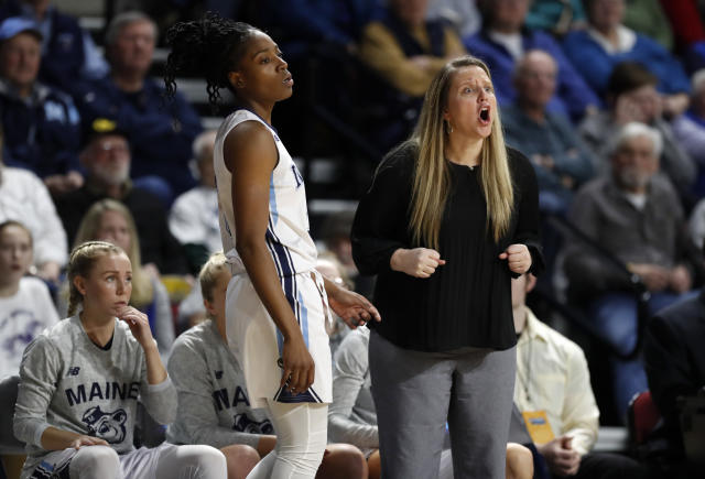 Maine head coach Amy Vachon shouts instructions to her team in the first half of an NCAA college basketball game against Hartford in the championship of the America East Conference tournament, Friday, March 9, 2018, in Bangor, Maine. (AP Photo/Robert F. Bukaty)