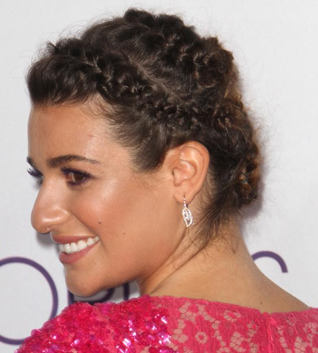 <b>Celebrities in plaits: Lea Michele</b> <br><br>Lea Michele showcased a braided hairstyle at the People's Choice Awards 2013 <br><br>©Rex