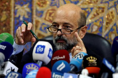 FILE PHOTO: Jordan's Prime Minister Omar al-Razzaz speaks during a news conference in Amman