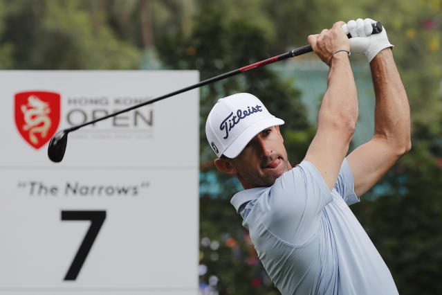 Wade Ormsby of Australia tees off on the 7th hole during the Hong Kong Open golf tournament at Fanling Golf Club in Hong Kong, Thursday, Jan. 9, 2020. (AP Photo/Andy Wong)