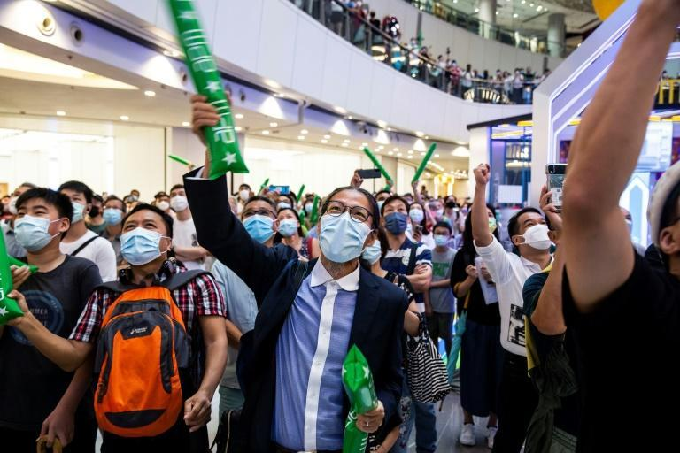 Fans gathered in a shopping mall in Hong Kong on Friday to cheer on Siobhan Haughey
