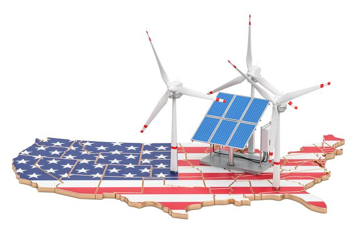 A map of the United States painted in the American flag and toy wind turbines and solar panels sitting on top.