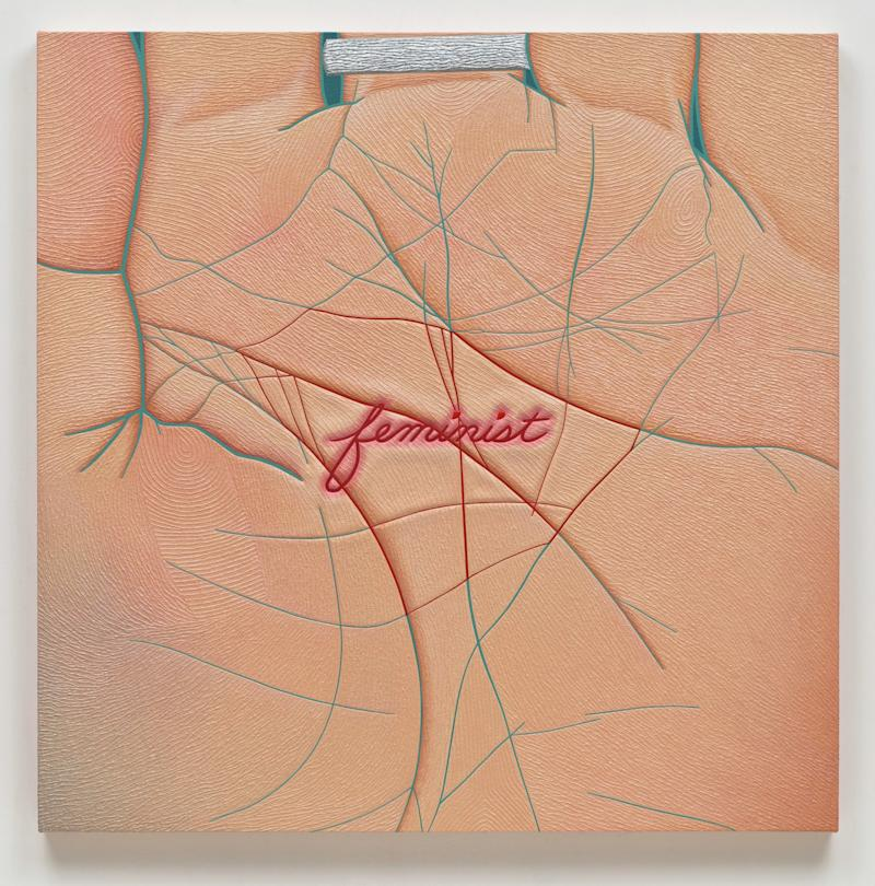 Linda Stark: Stigmata, 2011; oil on canvas over panel; 36 × 36 × 3 in.