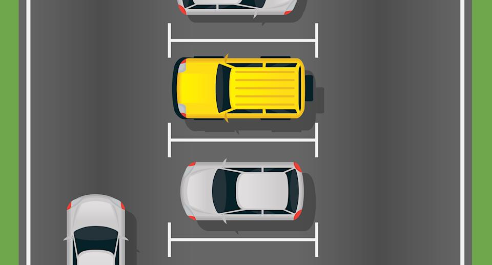 A graphic shows cars in a car park.
