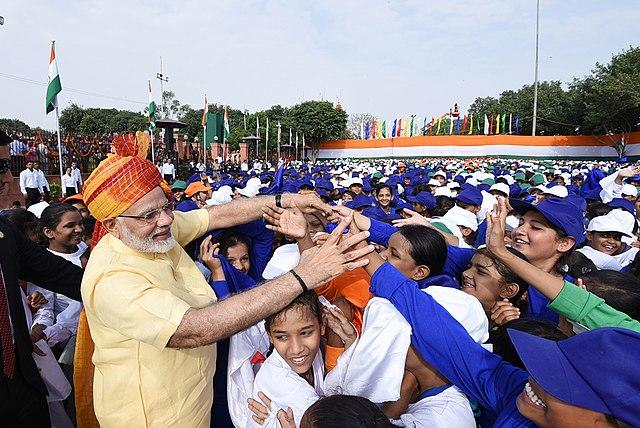 Unlike the Prime Ministers before him, Modi has never been one to stick to any form of protocol or convention. Modi always meets children after his independence day speeches, in fact, he gave his security team the jitters after he was swarmed by a group of excited school children in 2015. Modi has also opted for walking up the stairs leading to the podium, instead of taking the lift as the former PMs have done, to unfurl the flag. Further, since Modi has become the PM, the National Anthem is played twice – once between the unfurling of the flag and his independence day speech and once after his speech gets over, a departure from the earlier celebrations where the PM's speech was the last event. Image credit: Prime Minister's Office