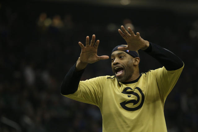 Vince Carter is back with the Atlanta Hawks for one more year. (AP Photo/Aaron Gash)