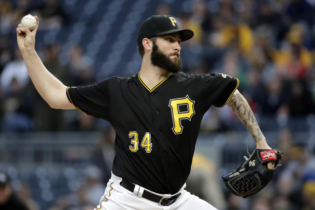 Pittsburgh Pirates starting pitcher Trevor Williams delivers during the first inning of the team's baseball game against the Oakland Athletics in Pittsburgh, Saturday, May 4, 2019. (AP Photo/Gene J. Puskar)