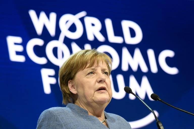 German chancellor Angela Merkel  addreses the annual World Economic Forum on January 24, 2018 in Davos, eastern Switzerland