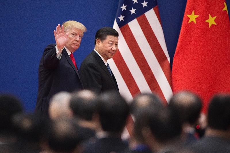 In China, Trump was gushing in his praise of his counterpart Xi Jinping (AFP Photo/Nicolas ASFOURI)