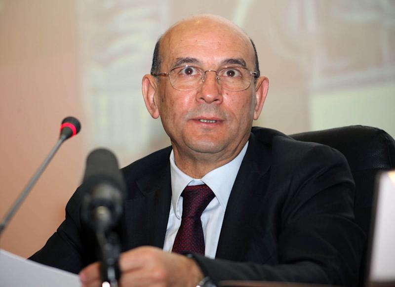 The CEO of the Sonatrach group, Abdelhamid Zerguine, speaks during a press conference in Algiers on February 7, 2012
