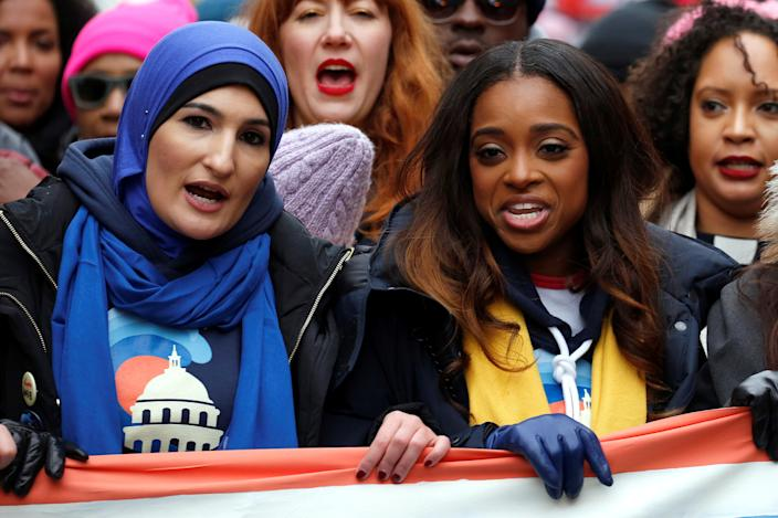Linda Sarsour and Tamika Mallory, two of the organisers of the Women's March, walk together on Pennsylvania Avenue during the Third Annual Women's March in Washington, Jan.19, 2019. (Photo: Joshua Roberts/Reuters)