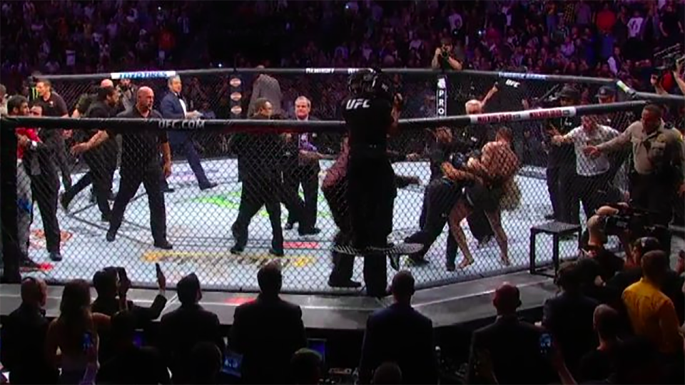 'Absolutely disgusting': Chaos erupts after Khabib beats McGregor