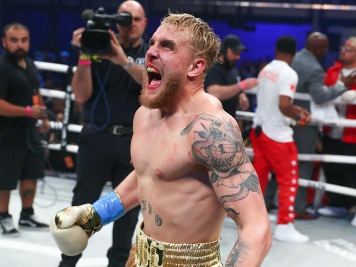 Jake Paul celebrates after winning his boxing pro debut on January 30, 2020, as part of Matchroom Boxing and DAZN Miami Fight Night at the Meridian in Miami, Florida.