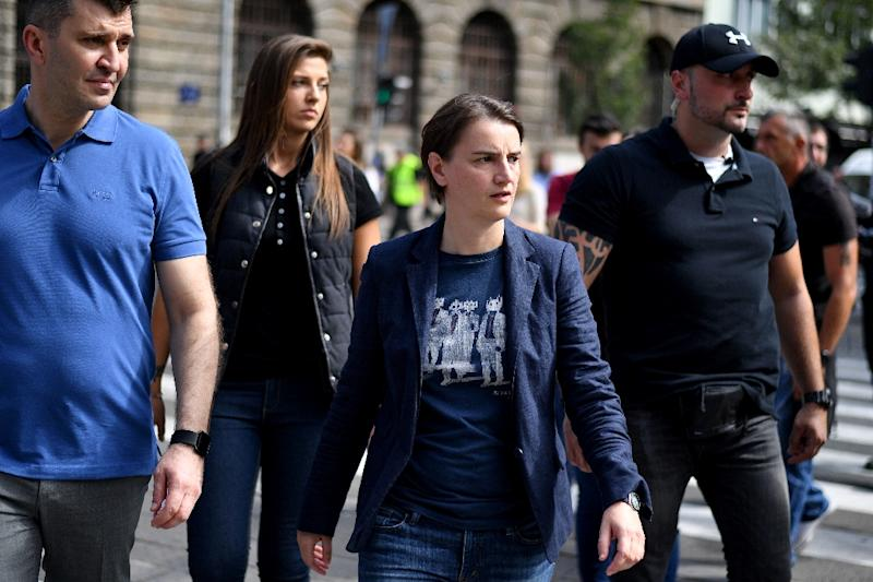 Serbia's prime minister Ana Brnabic (2nd right) attends the Gay Pride parade on September 17, 2017 in Belgrade (AFP Photo/ANDREJ ISAKOVIC)