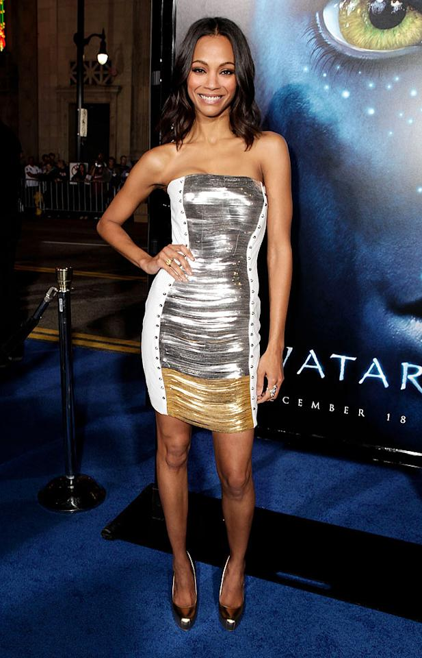 "Zoe Saldana looked out of this world at the Hollywood premiere of ""Avatar."" Jeff Vespa/<a href=""http://www.wireimage.com"" target=""new"">WireImage.com</a> - December 16, 2009"
