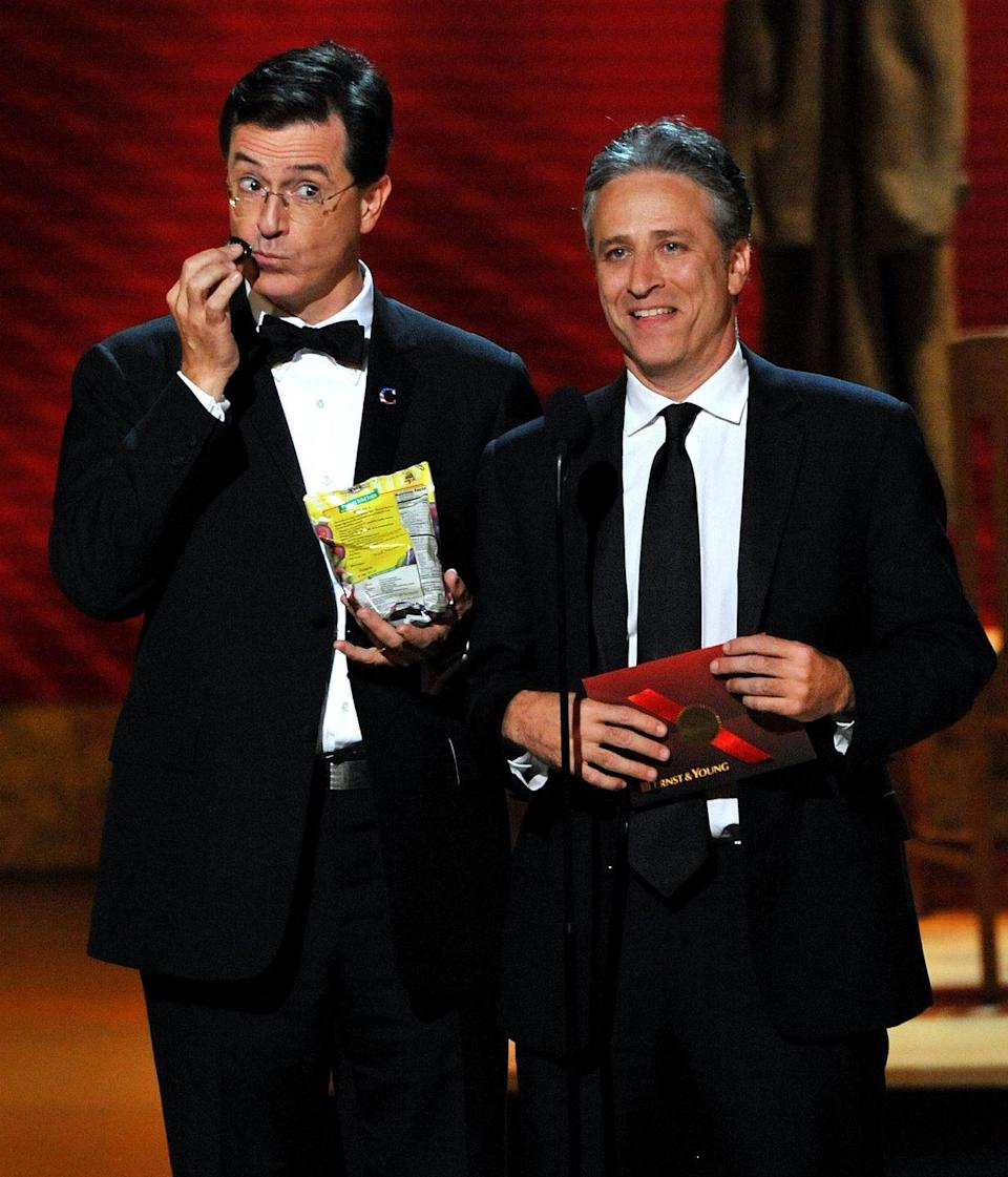 """<p>Not everyone can present an award in truly memorable fashion, but it makes sense that Stephen Colbert and Jon Stewart could. The two <a href=""""https://www.youtube.com/watch?v=JZu63SqFd38"""" rel=""""nofollow noopener"""" target=""""_blank"""" data-ylk=""""slk:took the stag"""" class=""""link rapid-noclick-resp"""">took the stag</a><a href=""""https://www.youtube.com/watch?v=JZu63SqFd38"""" rel=""""nofollow noopener"""" target=""""_blank"""" data-ylk=""""slk:e"""" class=""""link rapid-noclick-resp"""">e</a> and made everyone chuckle throughout the show.</p>"""