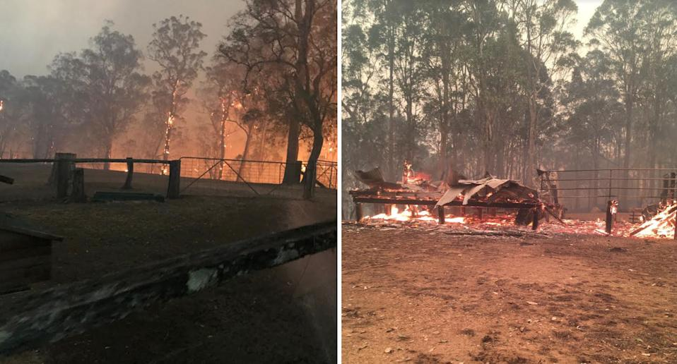 The fire scorched properties in Nelligen as Mr Parker tried to protect his and his neighbour's homes. Source: Supplied/ Karla Duroy